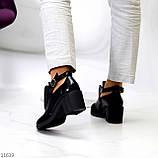 Дизайнерські чорні жіночі туфлі черевики ботильйони на зручному каблуці 38-24,5 см, фото 6