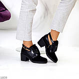 Дизайнерські чорні жіночі туфлі черевики ботильйони на зручному каблуці 38-24,5 см, фото 7
