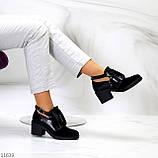 Дизайнерські чорні жіночі туфлі черевики ботильйони на зручному каблуці 38-24,5 см, фото 8