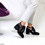 Дизайнерські чорні жіночі туфлі черевики ботильйони на зручному каблуці 38-24,5 см, фото 10