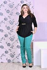 Женские брюки с карманами больших размеров 07 зеленые 48-74, фото 3
