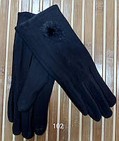 Рукавички жіночі Фабричний Китай СЕНСОРНІ Кашемір на флісі Колір чорний, фото 1