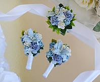 Комплект свадебных бутоньерок в голубом цвете (для жениха, свидетеля и свидетельницы)