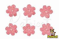 Мини декор Цветок вязаный розовый 3 см HandMade