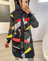 Женская теплая куртка-пальто с капюшоном в расцветках (Норма), фото 8