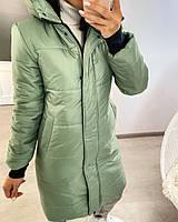 Женская теплая куртка-пальто с капюшоном в расцветках (Норма), фото 9