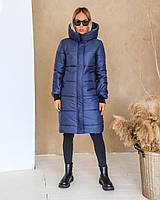 Женская теплая куртка-пальто с капюшоном в расцветках (Норма), фото 10