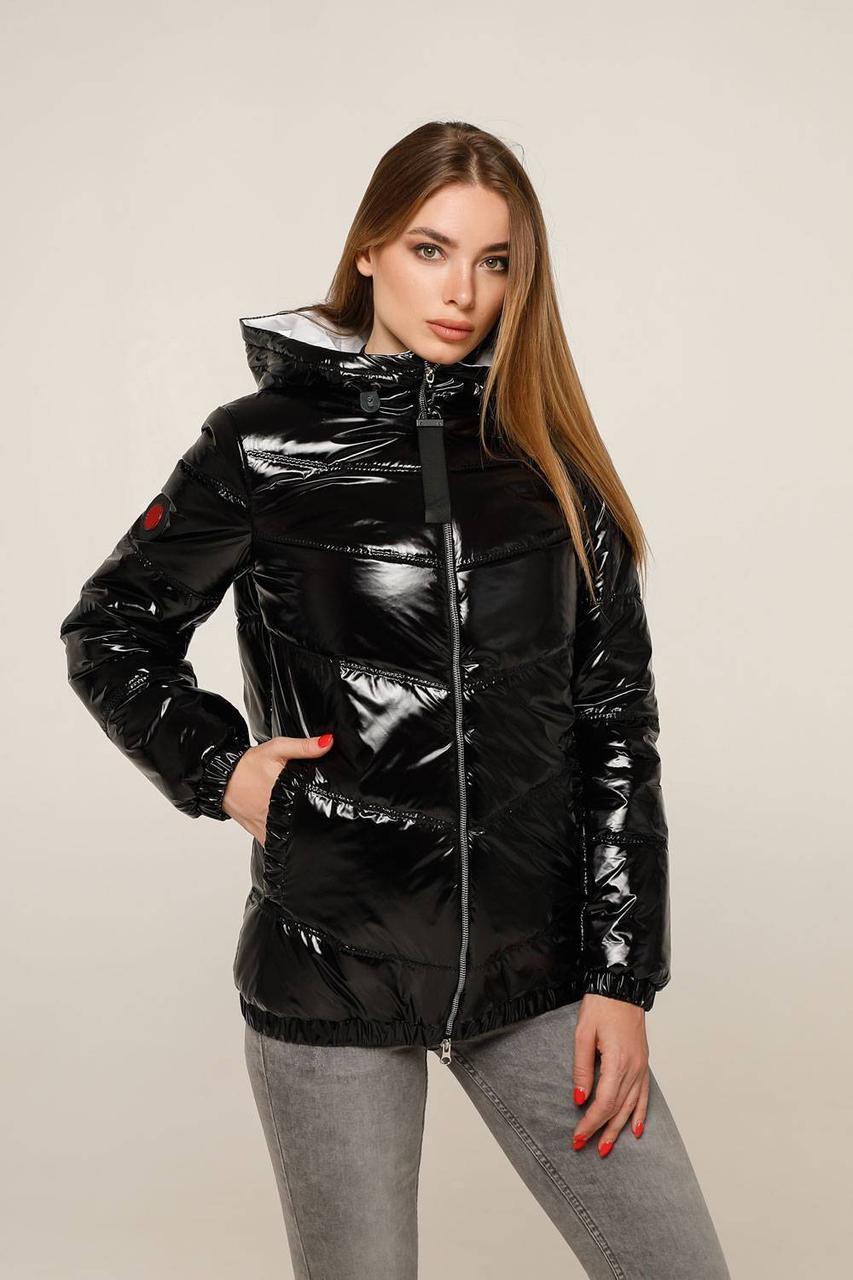 Женская лаковая демисезонная куртка с капюшоном (р. 44-54) арт. 1237/16-1
