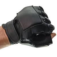 Тактические кожаные перчатки  Mil-tec беспалые черные 12515002