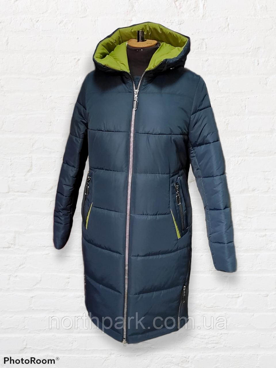 """Жіноче зимове плащове пальто """"Олівія"""", синьо-зелене"""