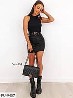 Короткая трендовая молодежная юбка мини облегающая эффектная из эко-кожи р-ры 42-44,46-48 арт 931
