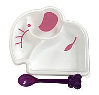 Двухсекционная тарелка с крышкой в форме зверька и ложка