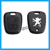 Корпус ключа зажигания на Peugeot 307, 107, 207, 407 без лезвия 2 кнопки - PCM100