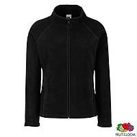 Толстовка-худи женская флисовая, кофта чёрная на молнии с карманами от Fruit of the Loom