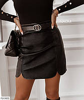 Трендовая юбка мини короткая приталенная с разрезами модного кроя  из кожзама р-ры 42-44,46-48 арт 1011