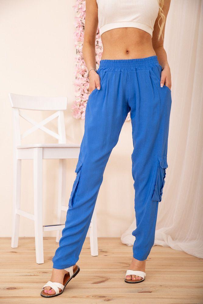Легкі жіночі брюки вільного крою Карго з кишенями колір Електрик
