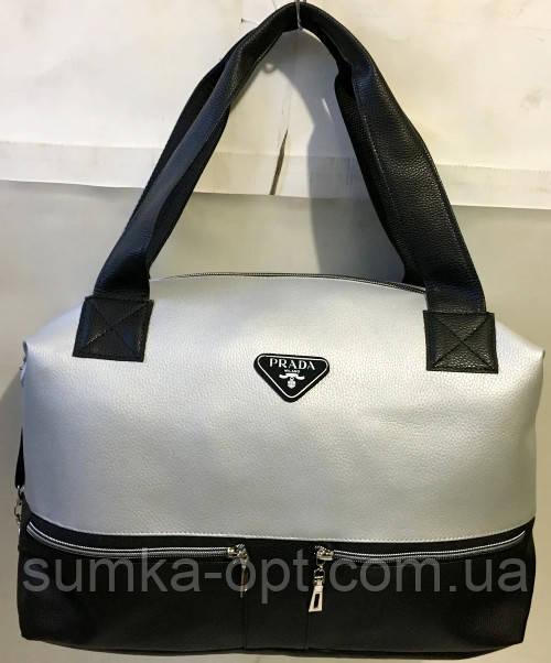 Женская городская универсальная сумка Prada из искусственной кожи 32*48 см, серебро