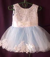 Дитяча сукня для дівчинки з фатином 1-1,5 року, персикового кольору