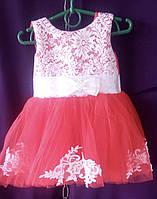 Дитяча сукня для дівчинки з фатином 1-1,5 року, червоного кольору