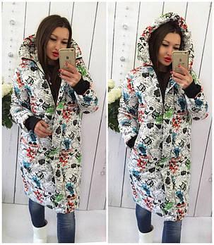 Жіноча зимове тепле пальто на синтепоні з капюшоном (Норма)