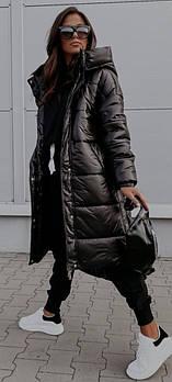 Жіноча зимове об'ємне пальто на синтепоні в кольорах (Норма і батал)