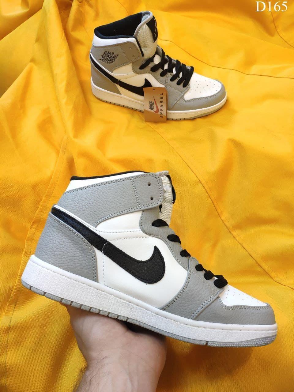 Мужские кроссовки Nike Air Jordan 1 Retro (серо-белые) D165 крутые осенние кроссы