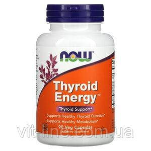 Now Foods, Thyroid Energy добавка для поддержания здоровья щитовидной железы, 90 растительных капсул, фото 2