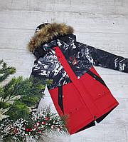 Куртка зимняя подросток УЗОР для мальчика 9-13 лет,красная с темно-синим