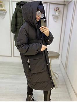 Зимове жіноче об'ємне пальто на синтепоні з капюшоном (Норма і батал)