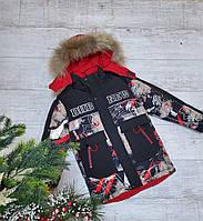 Куртка зимняя подросток DHB NEW для мальчика 9-13 лет,черная с красным