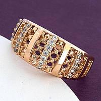 Кольцо Xuping 19,20р. 9мм медицинское золото позолота 18К 8449, фото 1