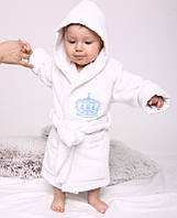 """Дитячий махровий халат для хлопчика """"Queen"""" білий з вишивкою"""