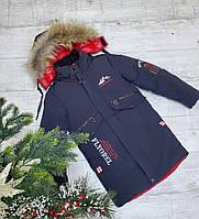 Куртка зимняя подросток FLYOREL для мальчика 10-14 лет,синего цвета
