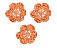 Мини декор Цветок вязаный Абрикос 3.5 см HandMade