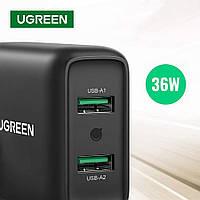Сетевое зарядное устройство Ugreen 36W 3А QC3.0 для быстрой зарядки 2 USB (black) CD161