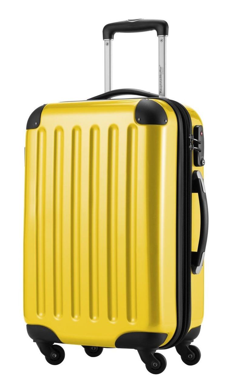 Прочный малый пластиковый 4-колесный чемодан 45 л. HAUPTSTADTKOFFER alex mini yellow желтый
