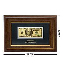 """Панно """"Банкнота 100 USD (доллар) США"""" золото 36*24 см"""