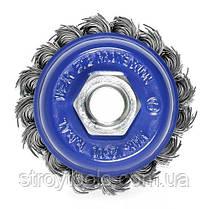 Щетка чашечная прямая S&R 65, стальная плетенная проволока, фото 3