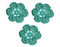 Мини декор Цветок вязаный Мятный 3.5 см HandMade, фото 1