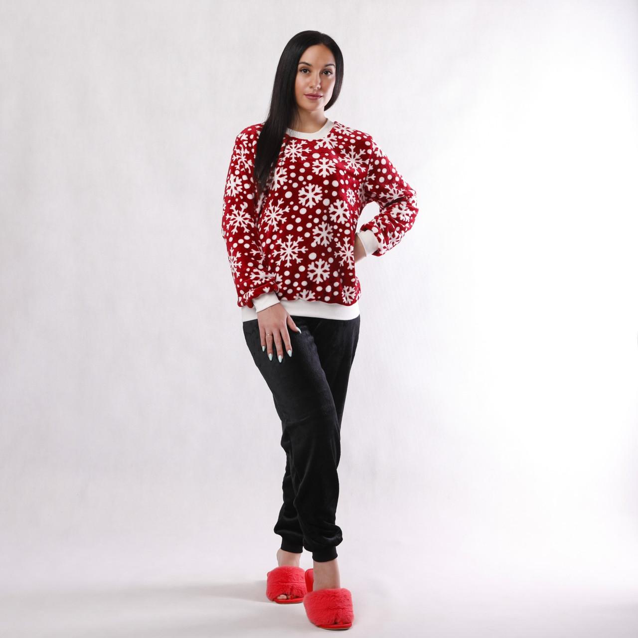 """Tiana style / Женская махровая теплая пижама """"Снежинка""""  р. 42-54 46-48"""