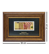 "Панно ""Банкнота 500 EUR (евро) Евросоюз"" золото 36*24 см"
