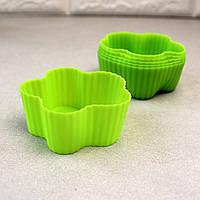 Набор из 6 силиконовых форм для кексов Цветы 7*7*3см