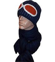Мужская вязаная шапка(утепленный вариант)  и шарф c элементами кожи