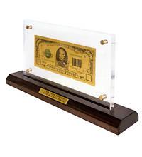 Банкнота на подставке 1000 USD (доллар) золото 18*14.3 см