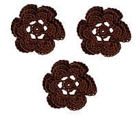 Мини декор Цветок вязаный Шоколадный 3.5 см HandMade