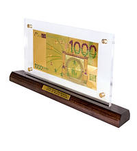 Банкнота на подставке 1000 EUR (евро) золото 18*14.3 см