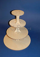 Круглая 4-х ярусная подставка для торта (тортовница), капкейков, конфет заготовка для декора (материал фанера)