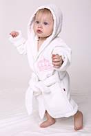 """Дитячий махровий халат для дівчинки """"Queen"""" білий з вишивкою"""