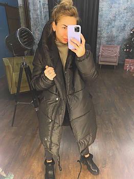 Жіноча зимове об'ємна куртка зефирка на силіконі з капюшоном (Норма)
