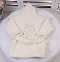 """Шикарний махровий халат для дітей """"Лев"""" молочний з вишивкою"""